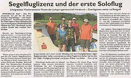 Segelfluglizenz und der erste Soloflug – Hersbrucker Zeitung vom 17.05.2018