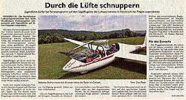 Segelfliegen im Ferienprogramm der Stadt Hersbruck – Hersbrucker Zeitung vom 30.08.2019