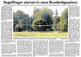 Segelflieger starten in neue Bundesligasaison – Hersbrucker Zeitung vom 30.05.2020